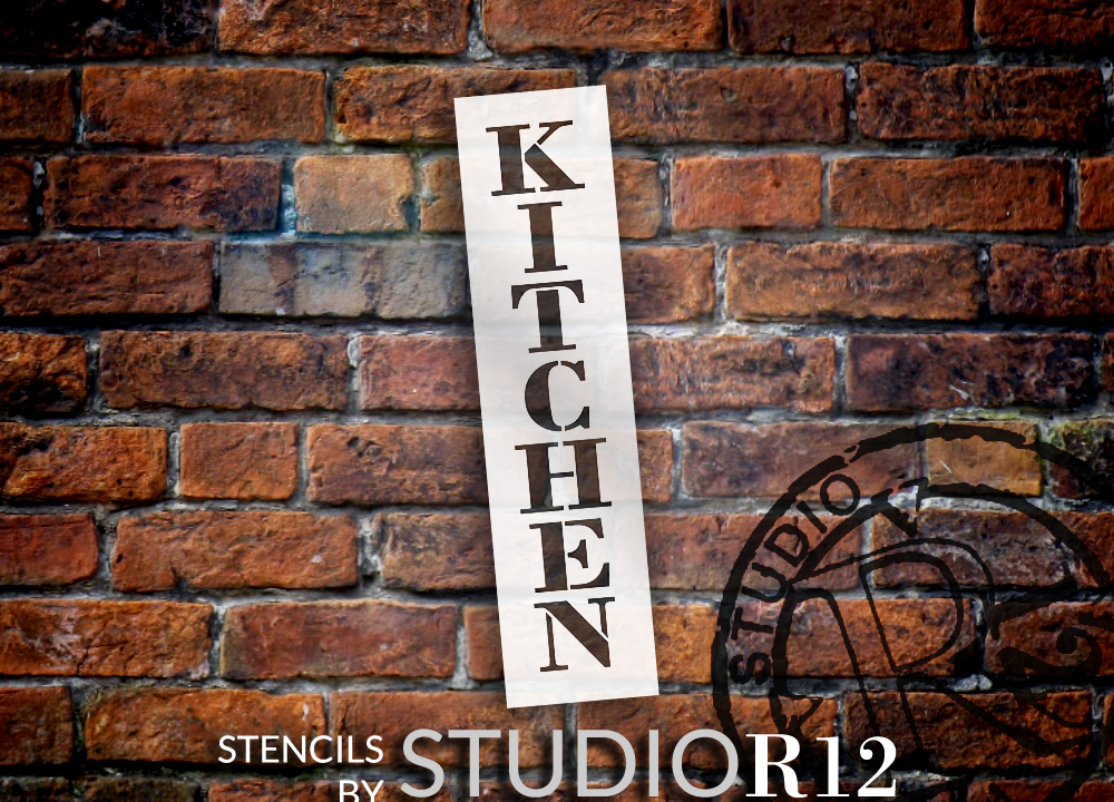 "Kitchen - Farmhouse Serif - Vertical - Word Stencil - 3"" x 12"" - STCL1952_1 - by StudioR12"