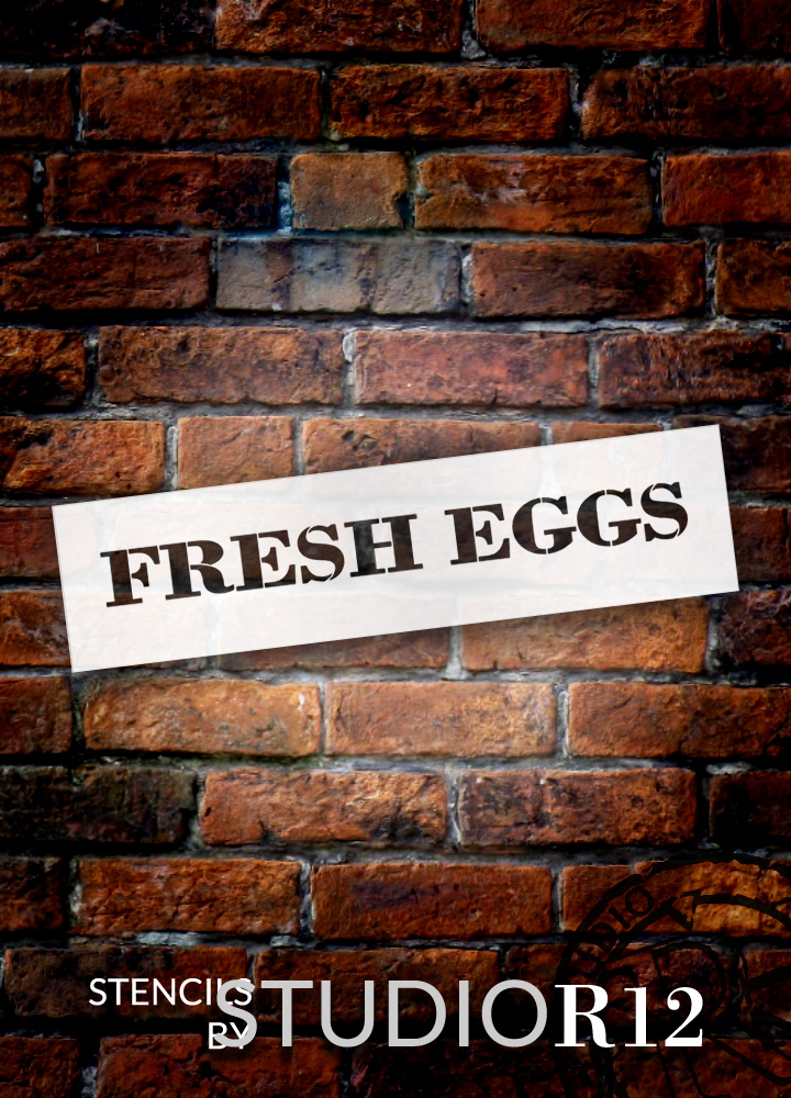 "Fresh Eggs - Farmhouse Serif - Word Stencil - 15"" x 3"" - STCL1957_1 - by StudioR12"