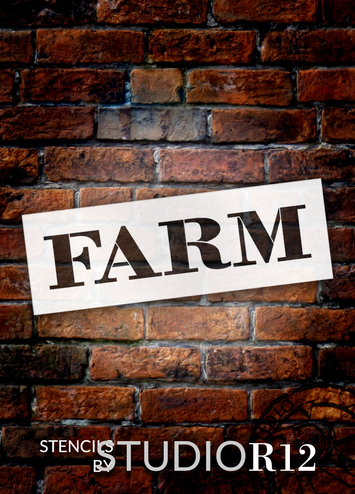 "Farm - Farmhouse Serif - Word Stencil - 12"" x 4"" - STCL1963_1 - by StudioR12"