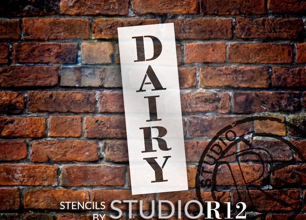 "Dairy - Farmhouse Serif - Vertical - Word Stencil - 5"" x 16"" - STCL1962_2 - by StudioR12"