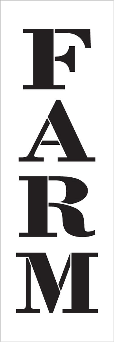 "Farm - Farmhouse Serif - Vertical - Word Stencil - 5"" x 16"" - STCL1964_2 - by StudioR12"