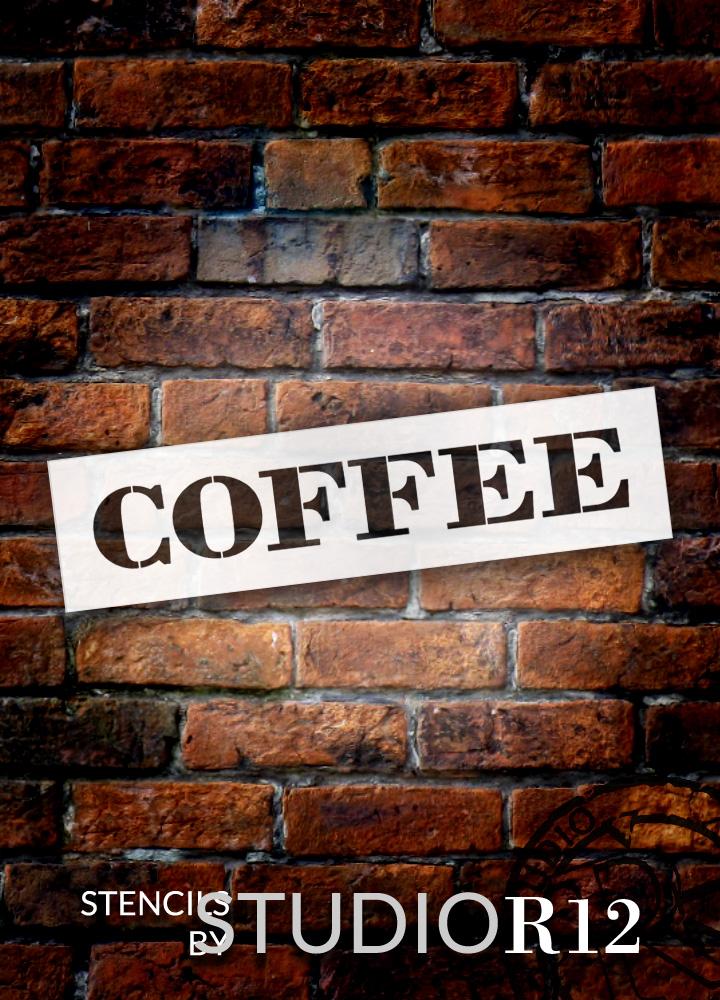 "Coffee - Farmhouse Serif - Word Stencil - 16"" x 4"" - STCL1965_2 - by StudioR12"