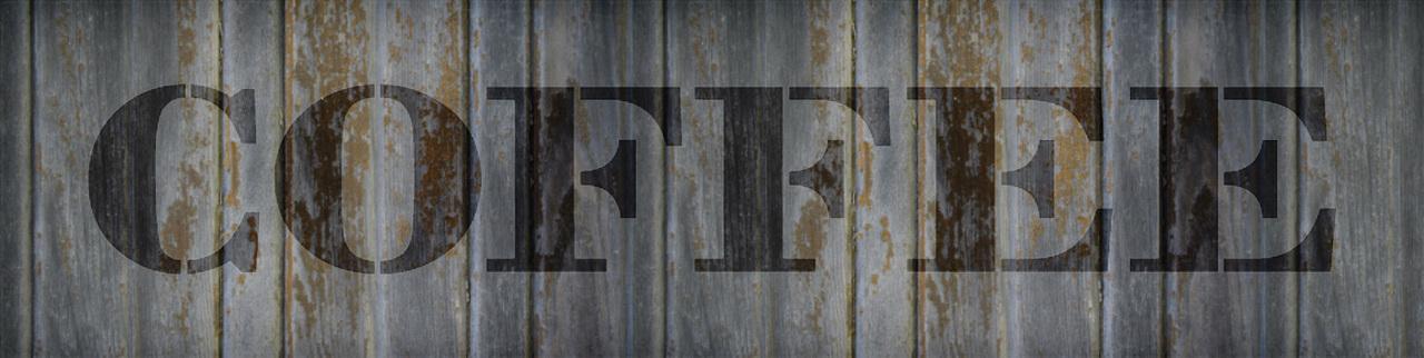 "Coffee - Farmhouse Serif - Word Stencil - 30"" x 7"" - STCL1965_5 - by StudioR12"