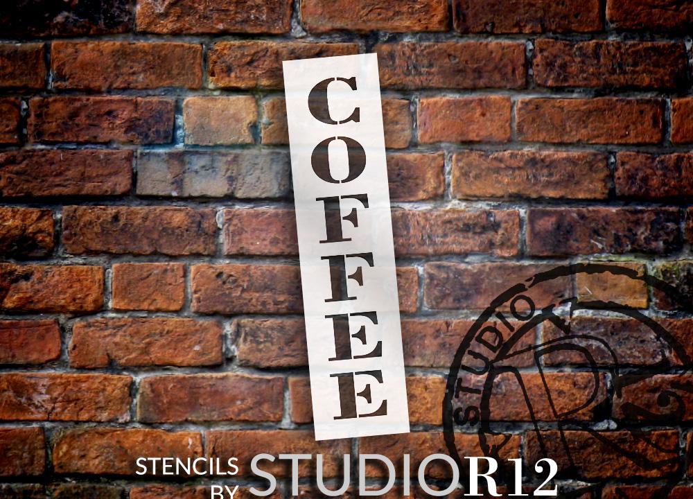 "Coffee - Farmhouse Serif - Vertical - Word Stencil - 4"" x 16"" - STCL1966_2 - by StudioR12"