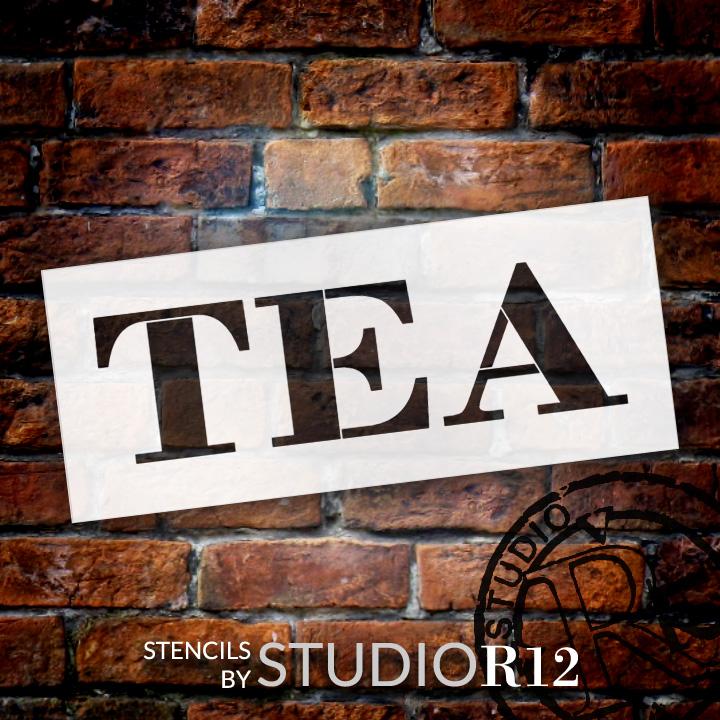 "Tea - Farmhouse Serif - Word Stencil - 16"" x 6"" - STCL1967_2 - by StudioR12"