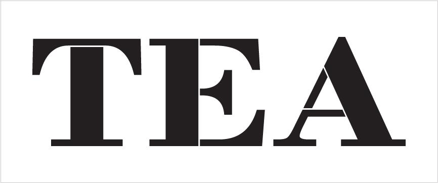 "Tea - Farmhouse Serif - Word Stencil - 20"" x 7"" - STCL1967_3 - by StudioR12"