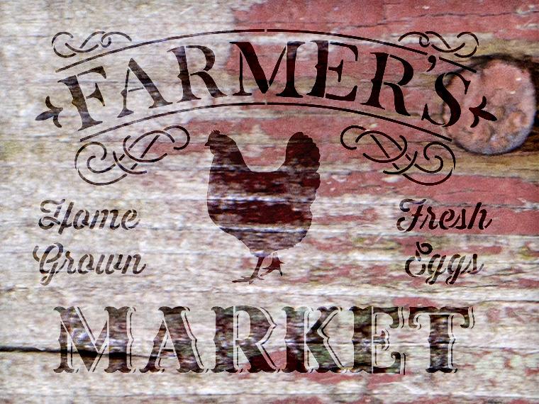 """Farmer's Market - Word Art Stencil - 25"""" x 20"""" - STCL1971_3 - by StudioR12"""