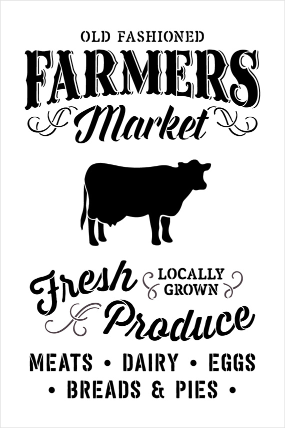 "Old Fashioned Farmer's Market - Word Art Stencil - 15"" x 22"" - STCL1972_2 - by StudioR12"