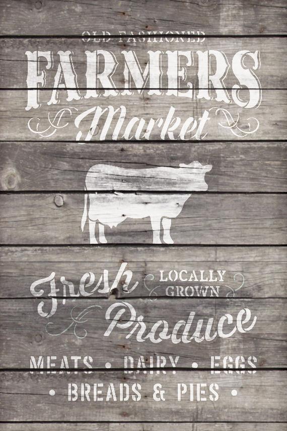 "Old Fashioned Farmer's Market - Word Art Stencil - 19"" x 27"" - STCL1972_3 - by StudioR12"