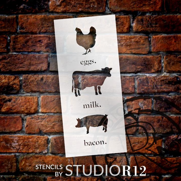 "Eggs Milk Bacon - Word Art Stencil - 9"" x 22"" - STCL1975_2 - by StudioR12"