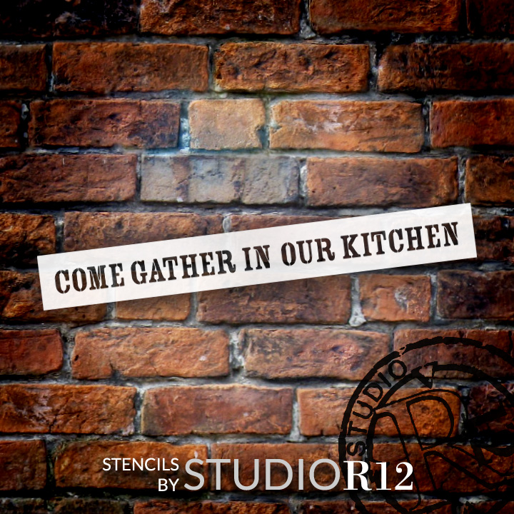 """Come Gather In Our Kitchen - 30"""" x 4"""" - STCL1977_2 - by StudioR12"""