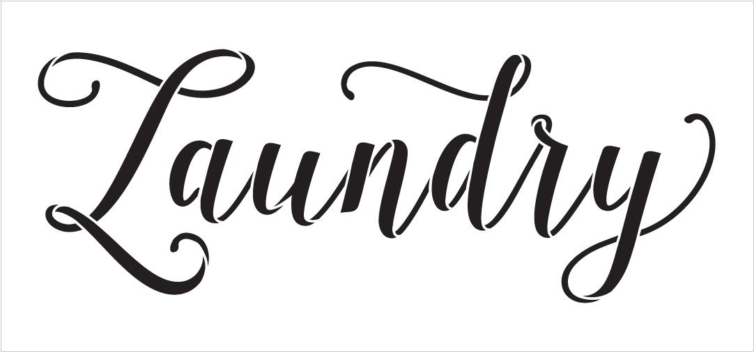 "Laundry - Graceful Hand Script - Word Stencil - 15"" x 7"" - STCL1978_1 - by StudioR12"