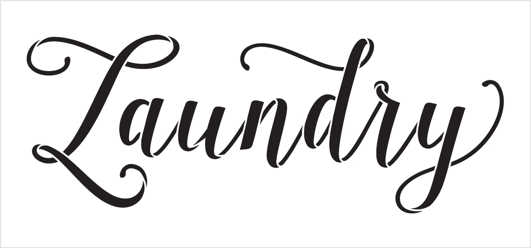 "Laundry - Graceful Hand Script - Word Stencil - 19"" x 8"" - STCL1978_2 - by StudioR12"