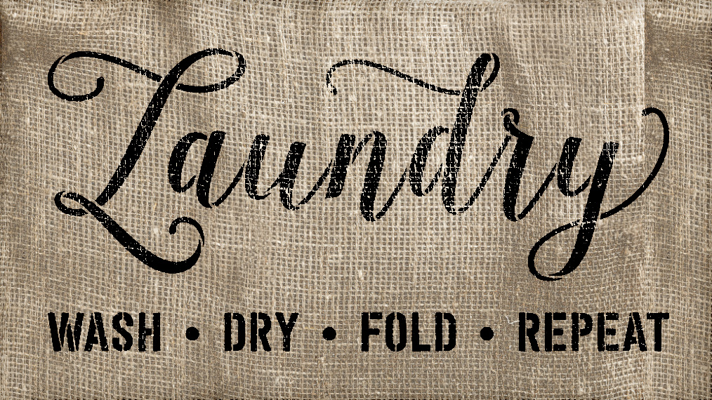 "Laundry - Wash Fold Dry Repeat - Word Stencil - 20"" x 11"" - STCL1980_2 - by StudioR12"