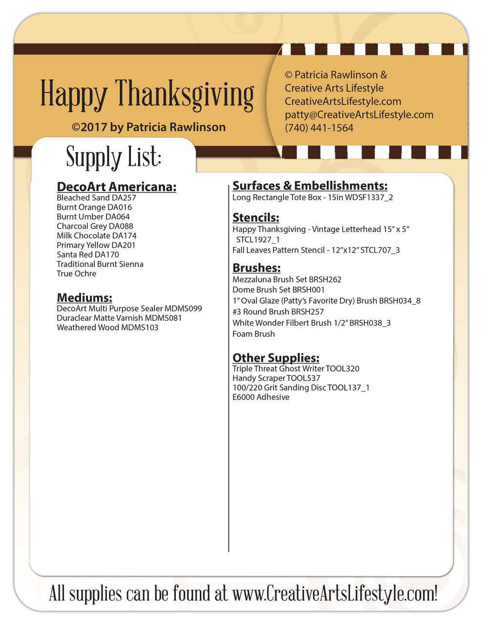 Happy Thanksgiving - Pattern Packet - Patricia Rawlinson