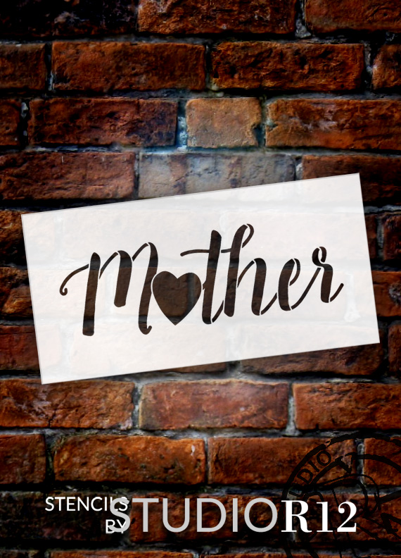 """Mother - Heart - Word Art Stencil - 15"""" x 7"""" - STCL1949_3 - by StudioR12"""