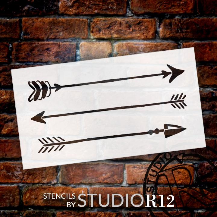 "Rustic Arrows - Art Stencil - 16"" x 8"" - STCL1983_2 - by StudioR12"