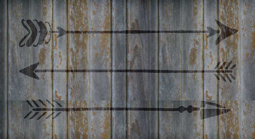 "Rustic Arrows - Art Stencil - 30"" x 15"" - STCL1983_5 - by StudioR12"