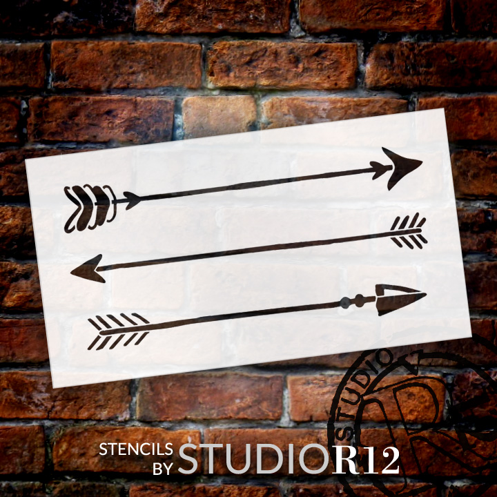 "Rustic Arrows - Art Stencil - 30"" x 15"" - STCL1983_5 - by StudioR12"