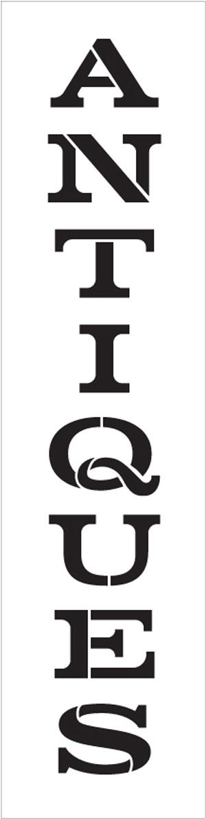 "Antiques - Vintage Serif - Vertical - Word Stencil - 3"" x 13"" - STCL1984_1 - by StudioR12"