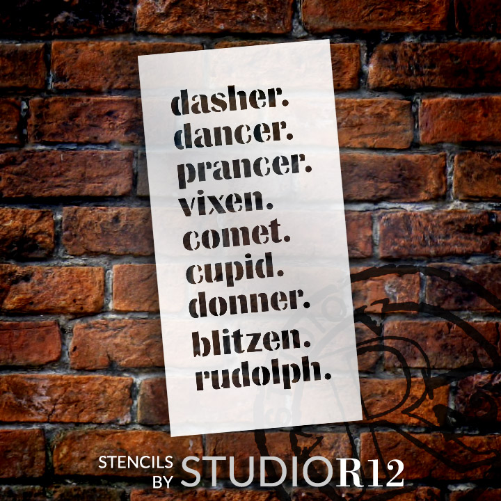 """Reindeer Names - Word Stencil - 13"""" x 26"""" - STCL1987_5 - by StudioR12"""