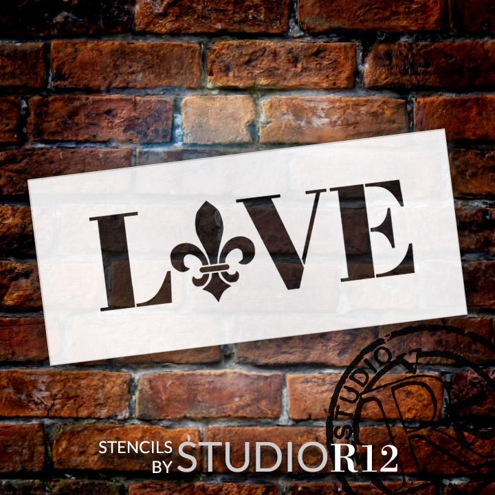 "Love - Fleur-de-Lis Style - Word Art Stencil - 12"" x 5"" - STCL1989_2 - by StudioR12"