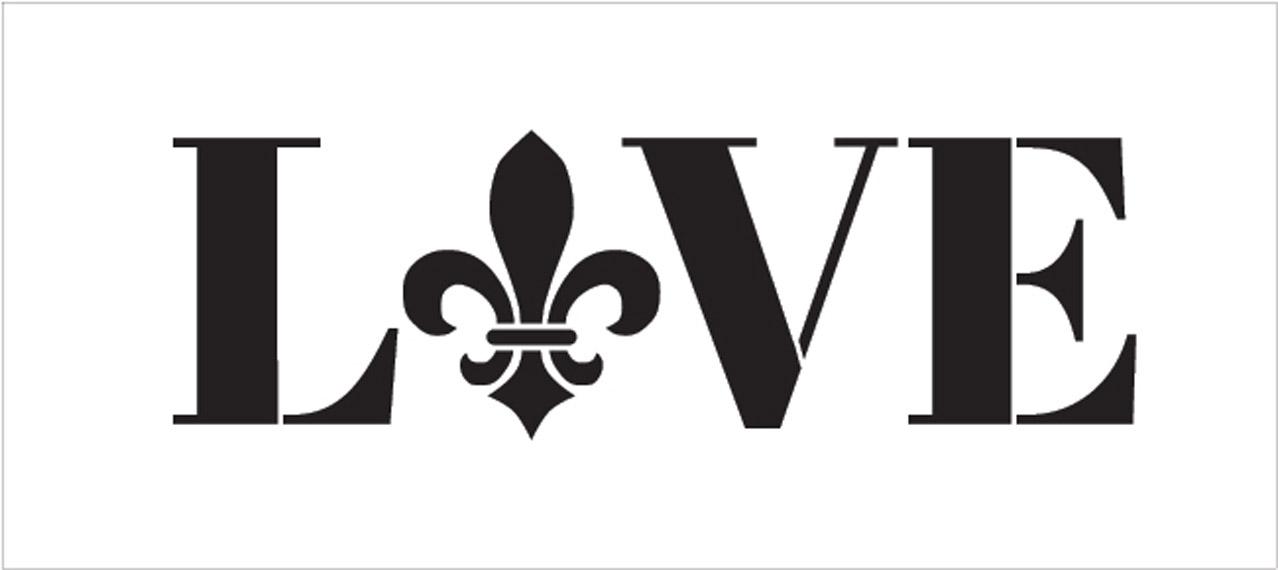 "Love - Fleur-de-Lis Style - Word Art Stencil - 24"" x 9"" - STCL1989_5 - by StudioR12"