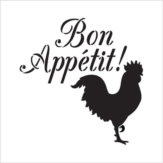 "Bon Appetit - Rooster - Word Art Stencil - 7"" x 7"" - STCL1990_1 - by StudioR12"