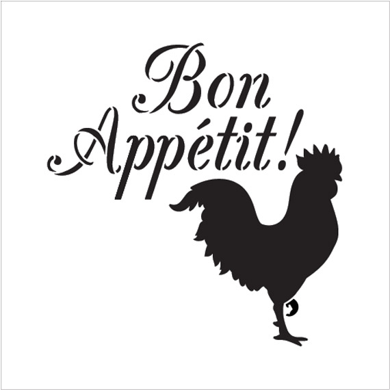"Bon Appetit - Rooster - Word Art Stencil - 10"" x 10"" - STCL1990_2 - by StudioR12"