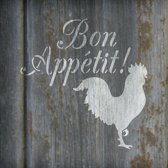 "Bon Appetit - Rooster - Word Art Stencil - 15"" x 15"" - STCL1990_3 - by StudioR12"