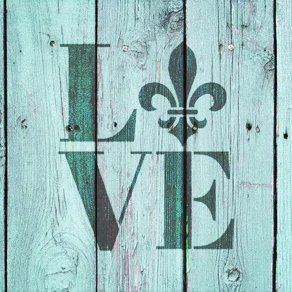 "Love - Fleur-de-Lis - Square - Word Art Stencil - 11"" x 12"" - STCL1991_3 - by StudioR12"