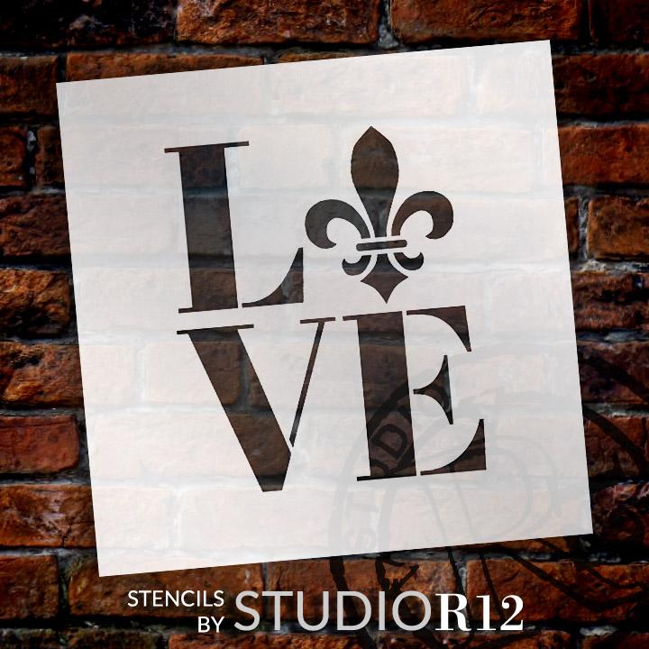 "Love - Fleur-de-Lis - Square - Word Art Stencil - 13"" x 15"" - STCL1991_4 - by StudioR12"