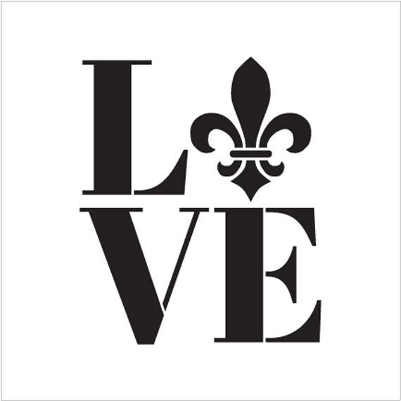 "Love - Fleur-de-Lis - Square - Word Art Stencil - 16"" x 18"" - STCL1991_5 - by StudioR12"