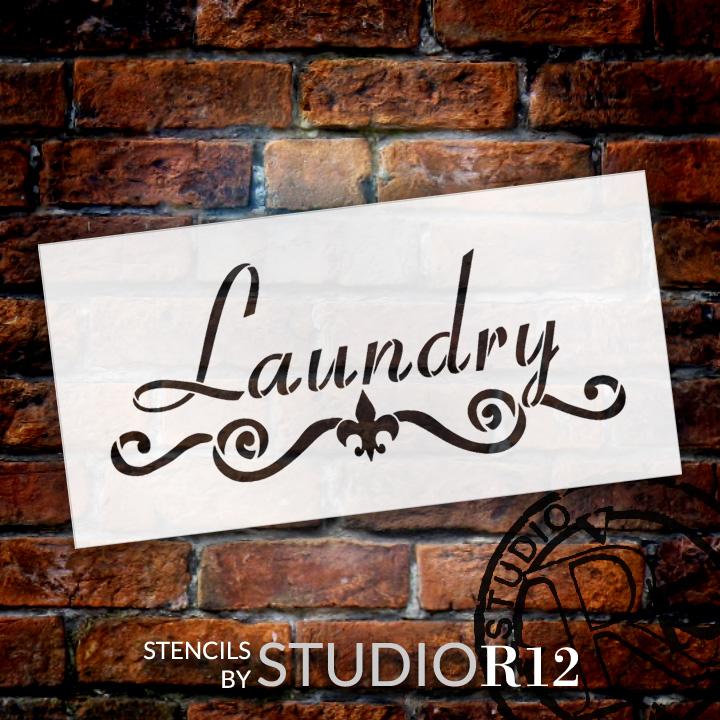 "Laundry - Fleur-de-Lis & Scrolls - Word Art Stencil - 16"" x 8"" - STCL1994_3 - by StudioR12"