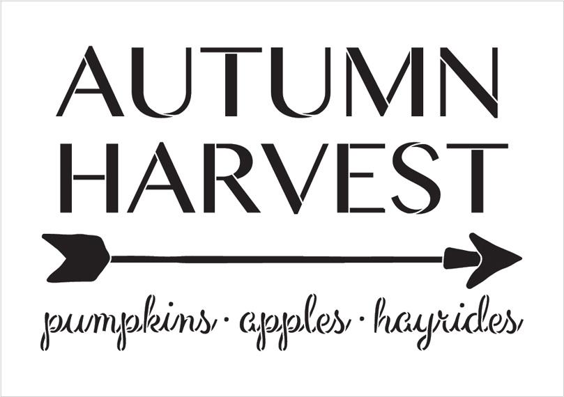 "Autumn Harvest - Arrow - Word Art Stencil - 20"" x 14"" - STCL1996_3 - by StudioR12"