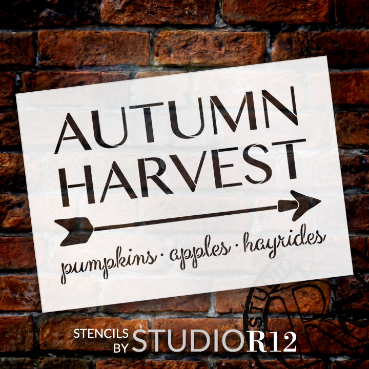 "Autumn Harvest - Arrow - Word Art Stencil - 24"" x 16"" - STCL1996_4 - by StudioR12"