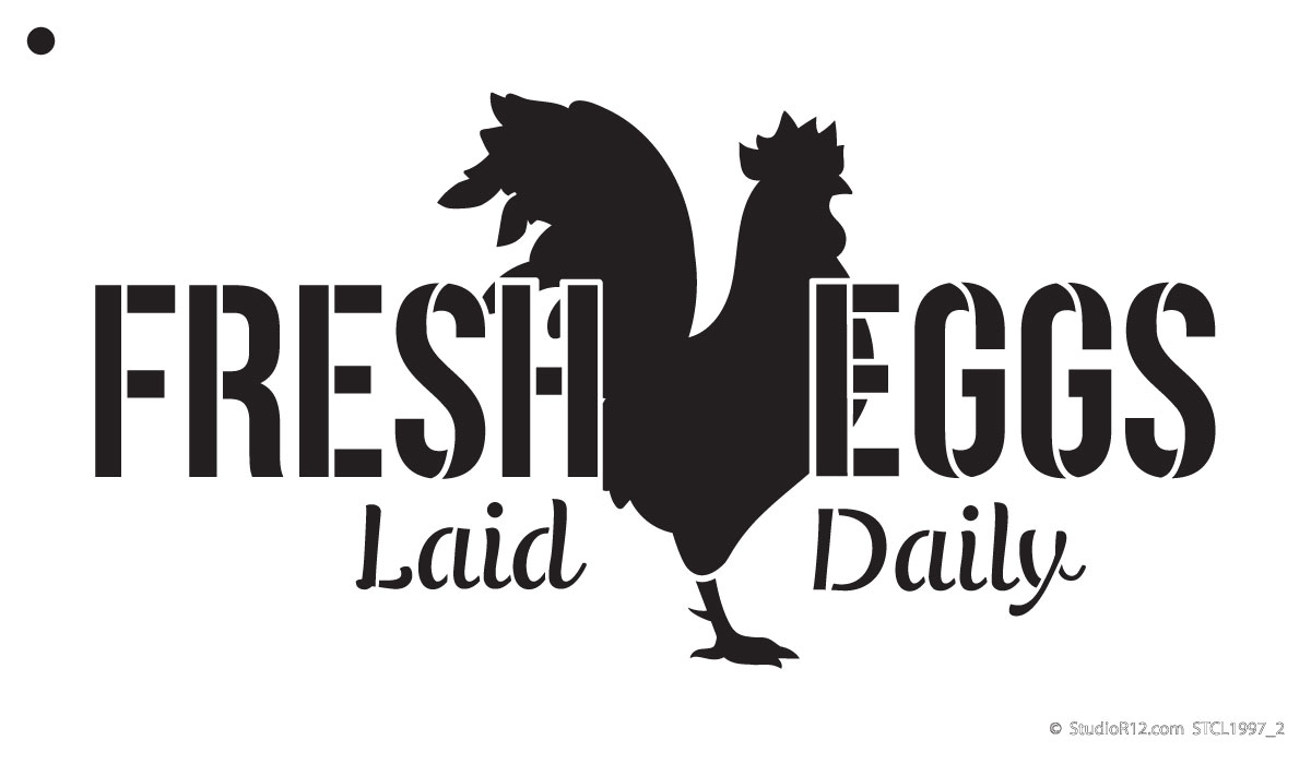 "Fresh Eggs - Chicken - Word Art Stencil - 9"" x 6"" - STCL1997_1 - by StudioR12"