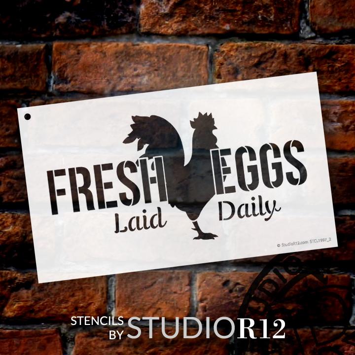 """Fresh Eggs - Chicken - Word Art Stencil - 12"""" x 7"""" - STCL1997_2 - by StudioR12"""