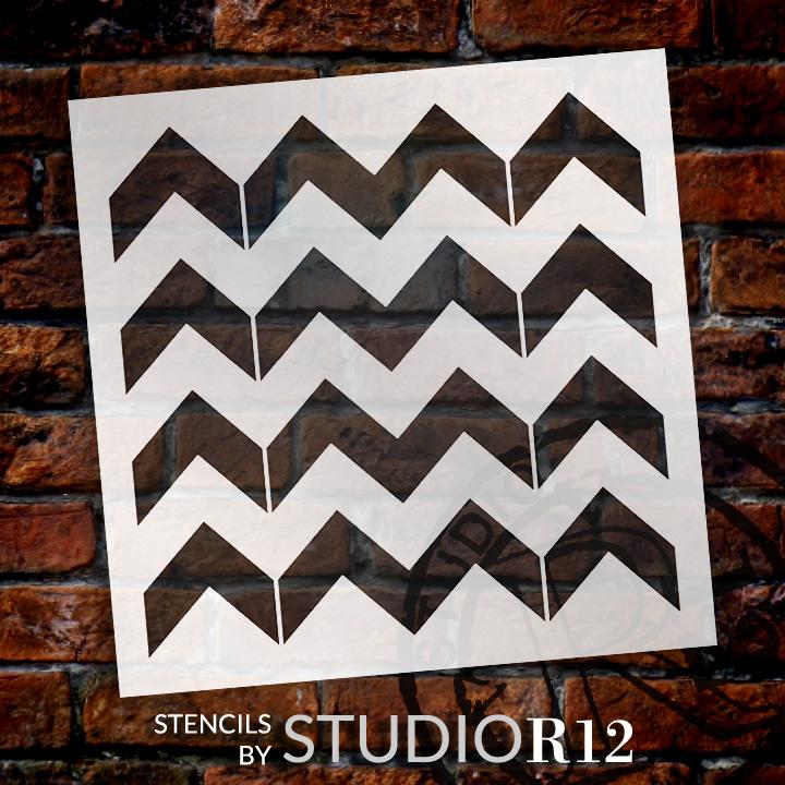 "Thick Chevron Pattern Stencil - 12"" x 12"" - STCL2000_3 - by StudioR12"