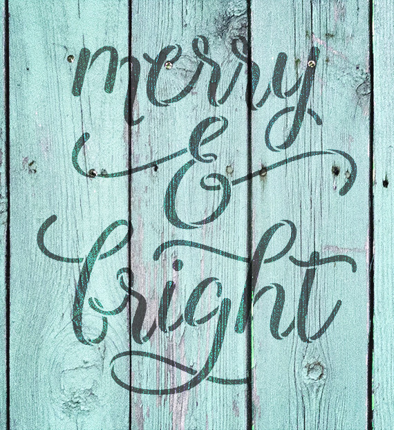 "Merry & Bright - Elegant Hand - Word Stencil - 8"" x 9"" - STCL2003_1 - by StudioR12"