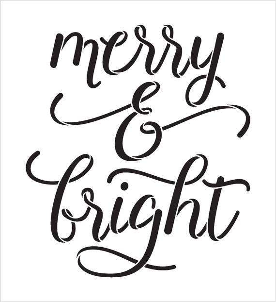 "Merry & Bight - Elegant Hand - Word Stencil - 11"" x 12"" - STCL2003_2 - by StudioR12"
