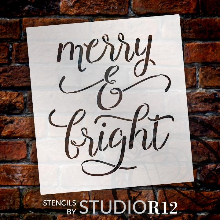 "Merry & Bight - Elegant Hand - Word Stencil - 14"" x 15"" - STCL2003_3 - by StudioR12"