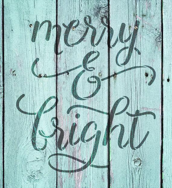 "Merry & Bight - Elegant Hand - Word Stencil - 19"" x 21"" - STCL2003_5 - by StudioR12"