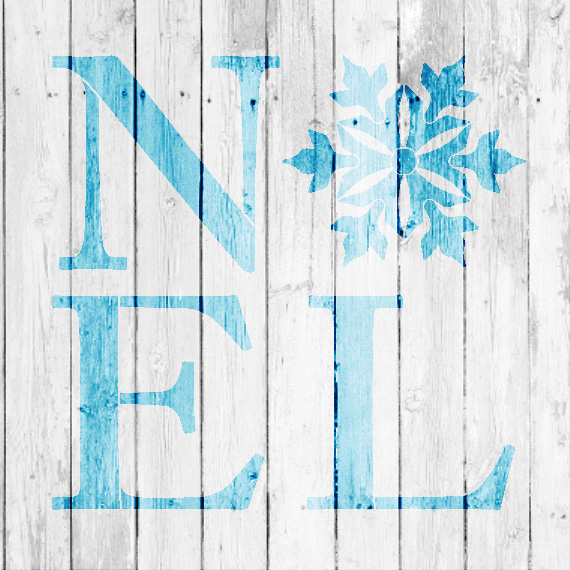 """Noel - Square with Snowflake - Word Art Stencil - 12"""" x 12"""" - STCL2004_2 - by StudioR12"""