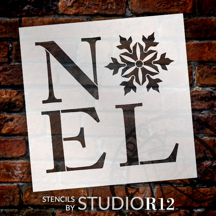 "Noel - Square with Snowflake - Word Art Stencil - 18"" x 18"" - STCL2004_4 - by StudioR12"