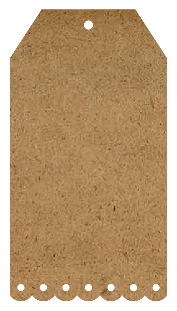 """Scalloped Wood Tag Surface - XS - 9"""""""