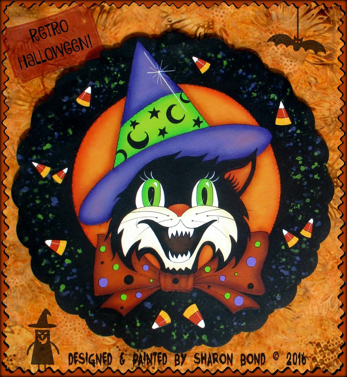 Retro Halloween Wreath - E-Packet - Sharon Bond