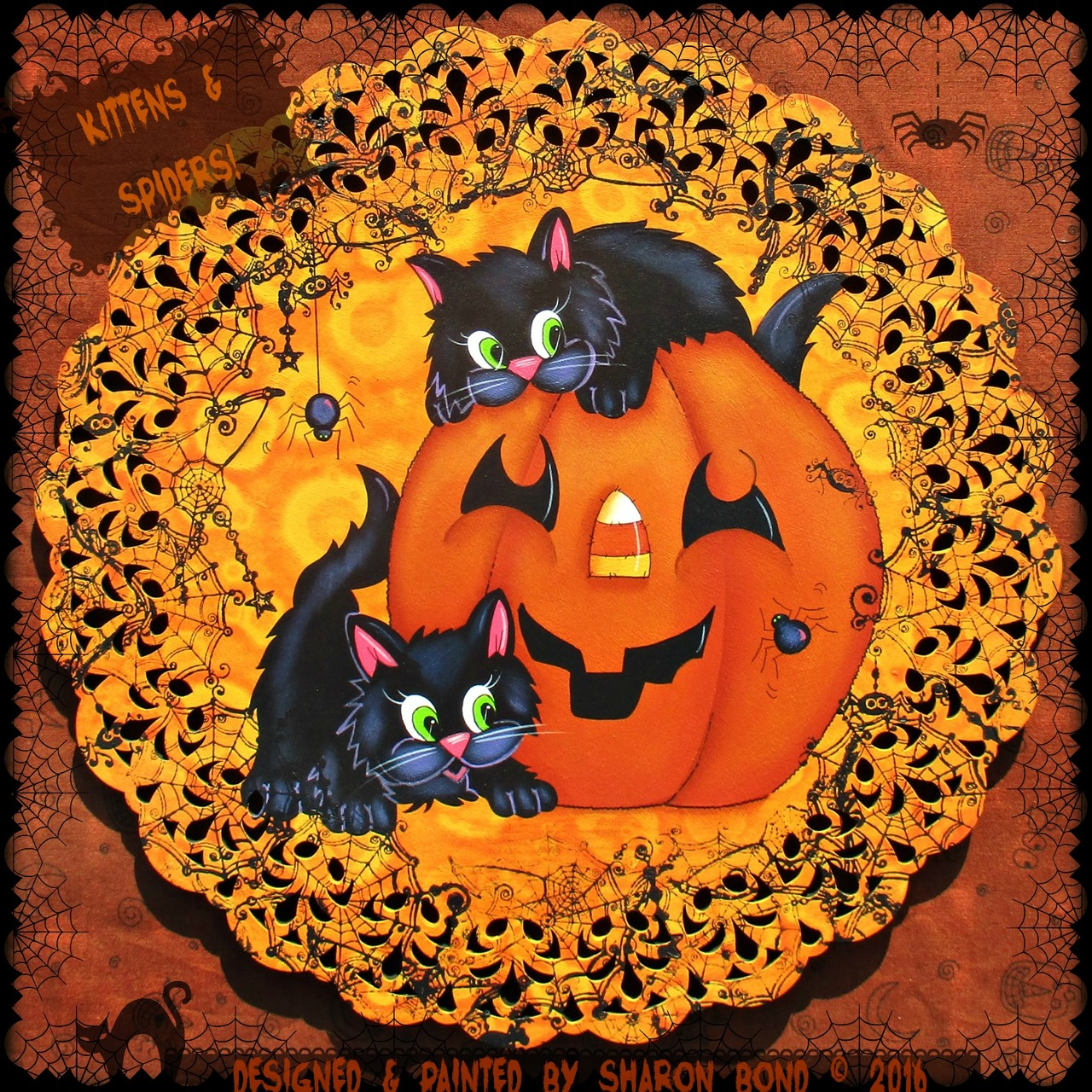 Kittens & Spiders! Wreath - E-Packet - Sharon Bond