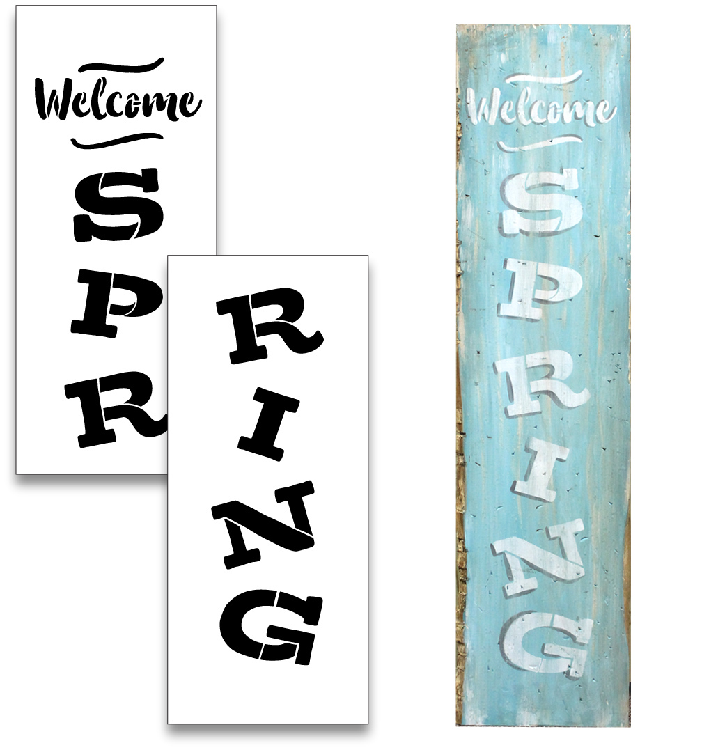 "Welcome Spring - Vertical - Word Stencil - 12"" x 48"" - STCL1878_4 - by StudioR12"