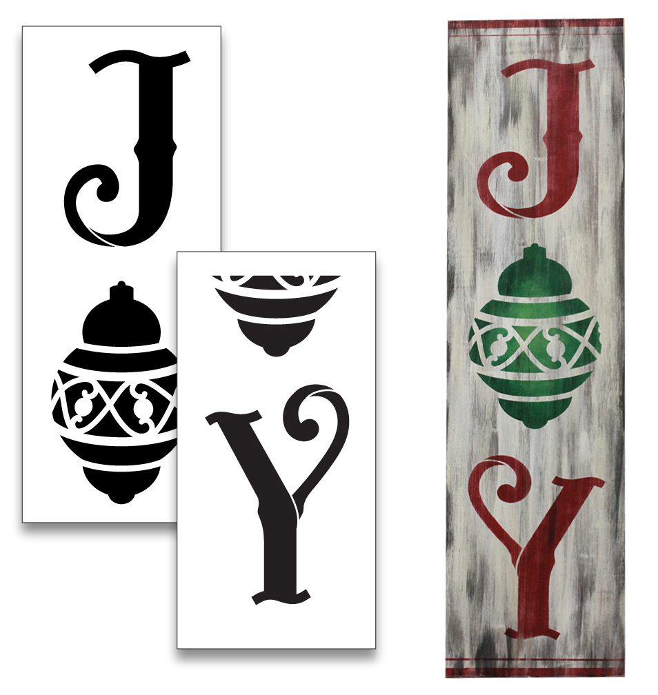 Joy Tall Porch Stencil with Christmas Ornament by StudioR12 | 2 Piece | DIY Large Vertical Holiday Home Decor | Front Door Entryway | Craft Paint Wood Leaner Signs | Reusable Mylar Template | Size 4ft
